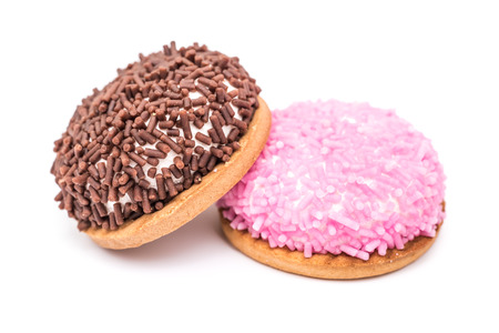 chocolate sprinkles: Marshmallow Cookies With Pink And Chocolate Sprinkles Isolated