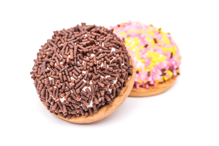 chocolate sprinkles: Marshmallow Cookies With Chocolate Sprinkles Isolated