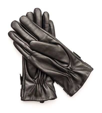 leather gloves: Woman Black Leather Gloves Isolated