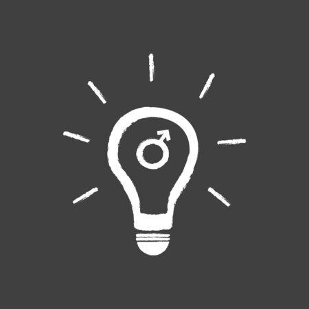 erectile: Idea Light Bulb With Male Gender Symbol Illustration