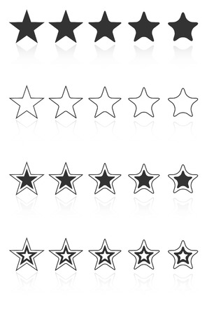 star award: Five Star Quality Award Icons With Reflection Illustration