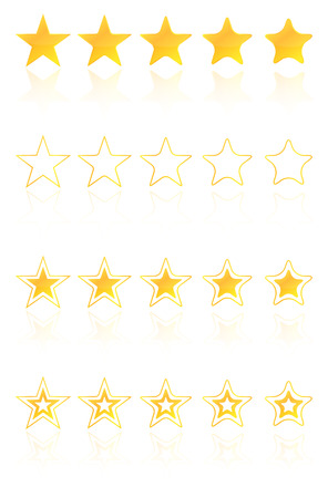 hotel reviews: Five Golden Star Quality Award Icons With Reflection Illustration