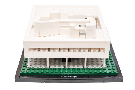 BUCHAREST, ROMANIA - NOVEMBER 07, 2014: Lego Villa Savoye Isolated On White. Situated on the outskirts of Paris it was designed by Le Corbusier in the 1920s.