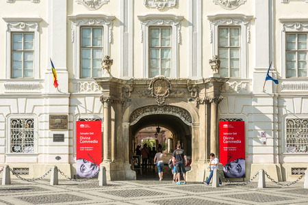 housed: SIBIU, ROMANIA - AUGUST 20, 2014: The Brukenthal National Museum was built in 1818 and housed in the palace of Samuel von Brukenthal the governor of Transylvania. Editorial