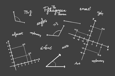 trigonometry: Mathematical Geometry Signs On Blackboard