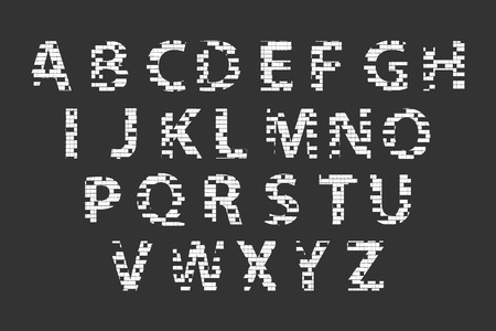 Mosaic Alphabet Letters On Blackboard Vector