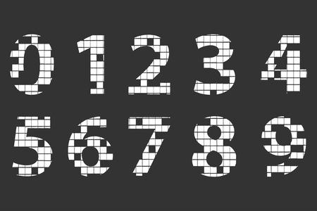 Mosaic Alphabet Numbers On Blackboard Vector