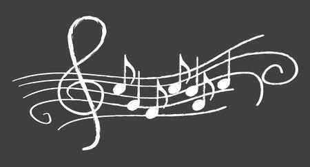 黒板に音楽ノート  イラスト・ベクター素材