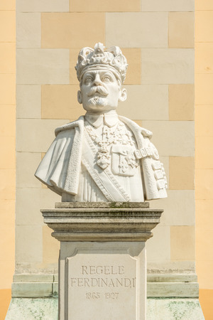 ferdinand: ALBA IULIA, ROMANIA - AUGUST 20, 2014: Statue Of Ferdinand I in Carolina White Fortress, who was King of Romania from 10 October 1914 until his death in 1927.