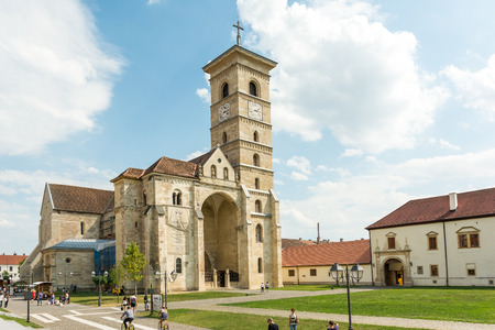 longest: ALBA IULIA, ROMANIA - AUGUST 20, 2014: Saint Michael Cathedral is a Roman Catholic cathedral and the oldest and the longest cathedral in the country located in Carolina White Fortress.