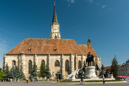 cluj: CLUJ NAPOCA, ROMANIA - AUGUST 21, 2014: Built In 1390 The Church of Saint Michael is a Gothic-style Roman Catholic church in Cluj-Napoca and the second largest church in Transylvania. Editorial
