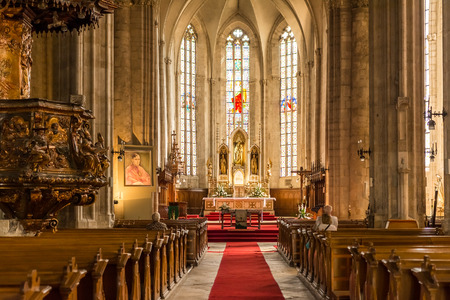 church interior: CLUJ NAPOCA, ROMANIA - AUGUST 21, 2014: Built In 1390 The Church of Saint Michael is a Gothic-style Roman Catholic church in Cluj-Napoca and the second largest church in Transylvania. Editorial