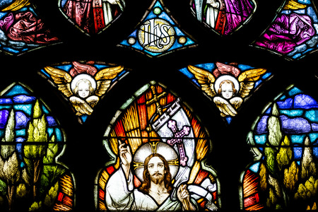 napoca: CLUJ NAPOCA, ROMANIA - AUGUST 21, 2014: Jesus Christ Resurrection Stained Glass Window Inside The Gothic Roman Catholic Church of Saint Michael Built In 1390. Editorial