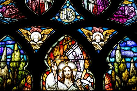 nacimiento de jesus: Cluj Napoca, Rumania - 21 de agosto 2014: Ventana de la iglesia de Jesucristo Resurrecci�n del vitral de Inside The Gothic Cat�lica Romana de San Miguel, construido en 1390.