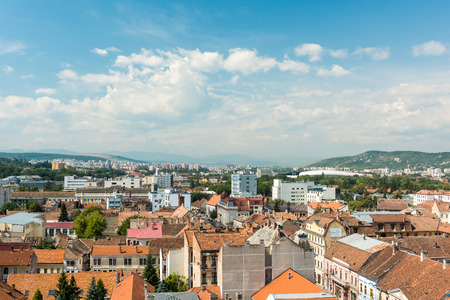 cluj: CLUJ NAPOCA, ROMANIA - AUGUST 21, 2014: High View Of Cluj Napoca City the second most populous city in Romania and the seat of Cluj County in the northwestern part of the country.