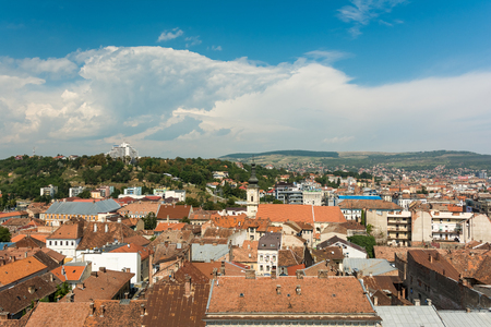 napoca: CLUJ NAPOCA, ROMANIA - AUGUST 21, 2014: High View Of Cluj Napoca City the second most populous city in Romania and the seat of Cluj County in the northwestern part of the country.