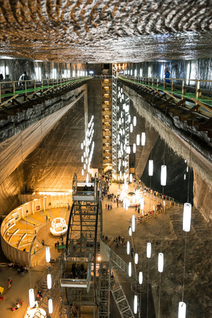 TURDA, ROMANIA - AUGUST 21, 2014: Opened In 1992 Salina Turda is a salt mine located in Durgau-Valea Sarata area of Turda,   second largest city in Cluj County, Romania.