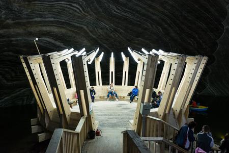 turda: TURDA, ROMANIA - AUGUST 23, 2014: Opened In 1992 Salina Turda is a salt mine located in Durgau-Valea Sarata area of Turda,   second largest city in Cluj County, Romania.