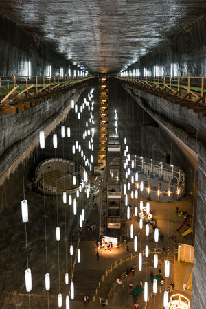 salina: TURDA, ROMANIA - AUGUST 23, 2014: Opened In 1992 Salina Turda is a salt mine located in Durgau-Valea Sarata area of Turda,   second largest city in Cluj County, Romania.