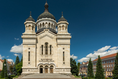 theology: CLUJ NAPOCA, ROMANIA - AUGUST 22, 2014: The Dormition of the Theotokos Cathedral (Catedrala Adormirea Maicii Domnului) was built in 1923 in a Romanian Brancovenesc style.