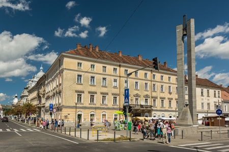 old center: CLUJ NAPOCA, ROMANIA - AUGUST 22, 2014: People Walking Downtown In The Old Center Of Cluj Napoca.