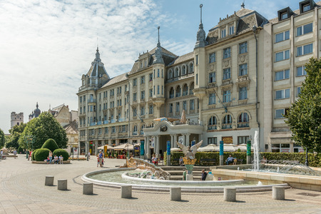 DEBRECEN, HUNGARY - AUGUST 23, 2014: Grand Hotel Aranybika is a four-star hotel with its history dates back to the late 17th century but the current building date from 1915.