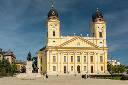 DEBRECEN, HUNGARY - AUGUST 23, 2014: The Reformed Protestant Great Church is located downtown the city of Debrecen between Kossuth square and Calvin square.