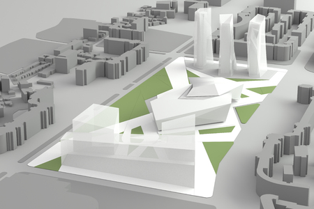 Architectural Model Of Downtown Business City Center With Public Park And Skyscrapers photo