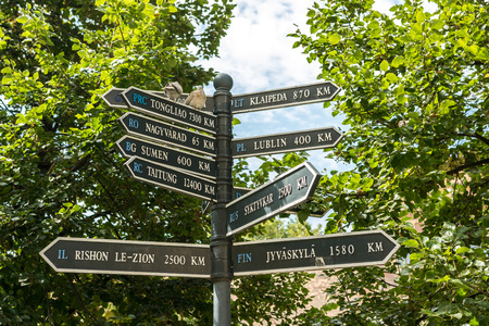 distances: Direction Signs Indicate Distances To Different Cities From Debrecen, Hungary.