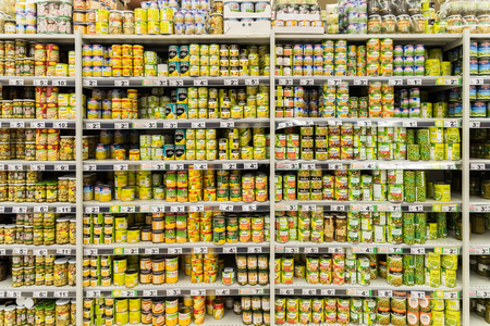 BUCHAREST, ROMANIA - DECEMBER 06, 2014: Canned Food On Supermarket Stand.