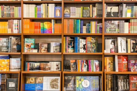 DEBRECEN, HUNGARY - AUGUST 23, 2014: Arts And Architecture Books On Library Shelf.
