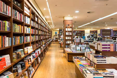 book shelf: DEBRECEN, HUNGARY - AUGUST 23, 2014: Famous International Books For Sale In Libri Book Store, one of the largest retail bookseller in Hungary.
