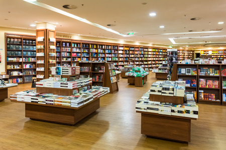 bookstore: DEBRECEN, HUNGARY - AUGUST 23, 2014: Famous International Books For Sale In Libri Book Store, one of the largest retail bookseller in Hungary.