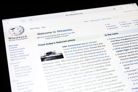wiki wikipedia: BUCHAREST, ROMANIA - DECEMBER 09, 2014: Wikipedia Website On Apple iPad Air Tablet. Wikipedia is a free-access and free content encyclopedia and is the Internet largest general reference work.