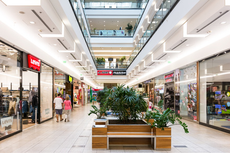 DEBRECEN, HUNGARY - AUGUST 26, 2014: Forum Debrecen Shopping Mall, one of the biggest shopping mall in town is located downtown the historical center of Debrecen city.