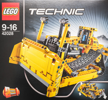 BUCHAREST, ROMANIA - DECEMBER 09, 2014: Lego Technic Box Closeup. Technic is a line of Lego interconnecting plastic rods and parts that creates more advanced models with more complex movable arms.