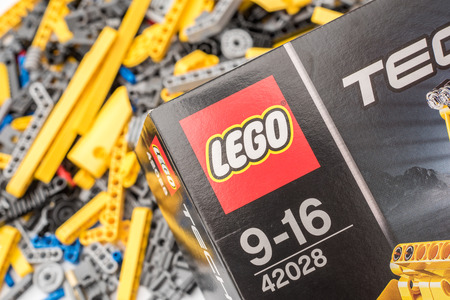 BUCHAREST, ROMANIA - DECEMBER 16, 2014: Lego Technic is a line of Lego interconnecting plastic rods and parts that creates more advanced models with complex movable arms.