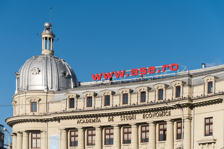comercial: BUCHAREST, ROMANIA - DECEMBER 12, 2014: The Bucharest University of Economic Studies is a public university founded in 1913 as the Academy of High Commercial and Industrial Studies. Editorial