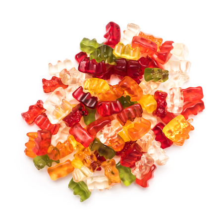 Jelly Gummy Bears Isolated On White photo