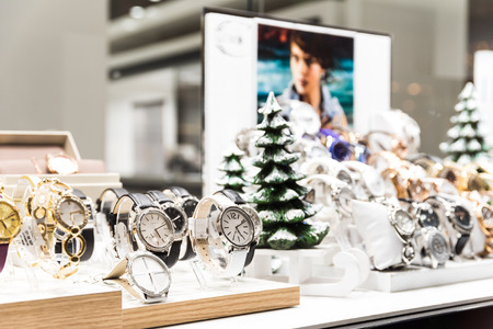 BUCHAREST, ROMANIA - DECEMBER 24, 2014: Expensive Watches For Sale In Luxury Shop Window Display.