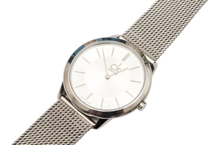headquartered: BUCHAREST, ROMANIA - DECEMBER 24, 2014: Calvin Klein Woman Watch Close Up On White. Founded in 1968 Calvin Klein is an American fashion house headquartered in Manhattan, New York City.