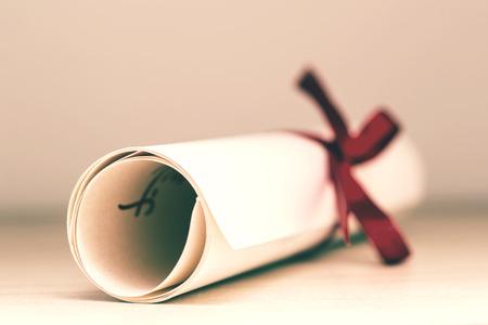 eğitim: Vintage Eğitim Diploması Close Up