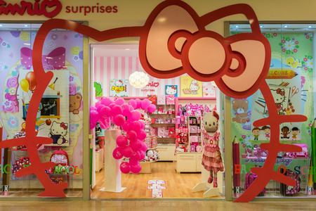 TIMISOARA, ROMANIA - AUGUST 24, 2014: Originally aimed at the pre-adolescent female market, the Hello Kitty product range has expanded from dolls, stickers, clothes, accessories and school supplies.