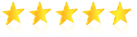five star: 3D Five Star Quality Award On White With Reflection