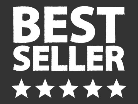 Best Seller Five Star Award On Blackboard Vector
