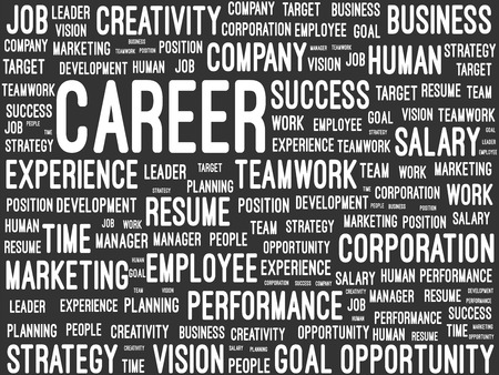 Business And Career Word Cloud On Blackboard Vector