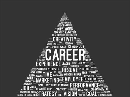 career path: Business And Career Pyramid Word Cloud On Blackboard