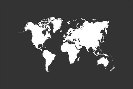 asia map: Chalk World Map On Blackboard Vector Illustration