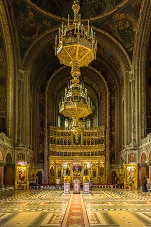 TIMISOARA, ROMANIA - AUGUST 25, 2014: The Timisoara Orthodox Cathedral is the seat of the Archbishop of Timisoara and Metropolis of Banat and is dedicated to the Three Holy Hierarchs.