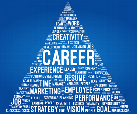 career path: Business And Career Word Cloud Pyramid On Blueprint Illustration